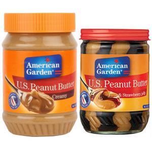 2 in 1 peanut Butter Combo , American Garden Creamy Peanut Butter 28 Oz With American Garden Peanut Butter & Strawberry Jelly 18 Oz