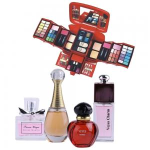 2 in 1 Ladies Beauty Pack Lchear Makeup Kit and 4 Piece Perfume Set