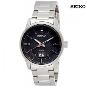 Seiko Men Steel Bracelet Case Hardlex Crystal Quartz Black Dial Analog Watch, SUR269P1