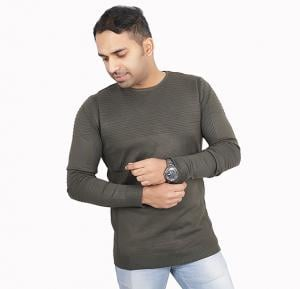 Score Jeans Mens Sweater Full Sleev Green - HF533 - L