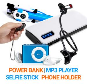 Bundle Offer Power Box 15000 mAh Power Bank For Smartphones & Tablets With 20CM Micro USB Cable And Get Selfie Stick With Stand And Remote-EA-864, Lazy Bracket Mobile Stand, MP3 Music Player Free