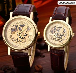 Generic Mechanical Gear Couple Watch Set of 2 Pcs - Brown