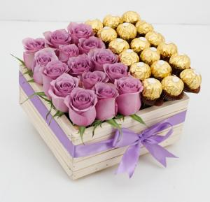 Black Tulip Flowers Purple Rose In A Wooden Box With Ferrero, Bt_Fl_0s88