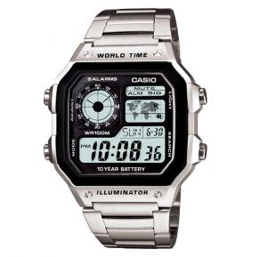 Casio World Time Watch For Men, Silver Stainless Steel AE-1200WHD-1AVDF