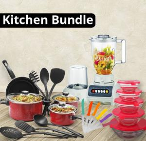 Kitchen Bundle Buy Olympia 13 PCS Non-Stick Cookware Sets, OE-1313 + Glass bowl 5 Pieces Sets  GB-004 + 777 Real Multi-Color Sharp 12 piece Knife-GS-6194 Get Free He-House Blender 2 In 1 With White Jar HT999