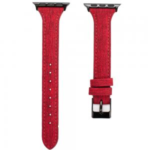 Promate Canvas Leather Watch Band, Trendy Canvas Styled with Leather Wristband Replacement for Apple Watch Strap 38mm/40mm, TARTAN-38SM.MAROON