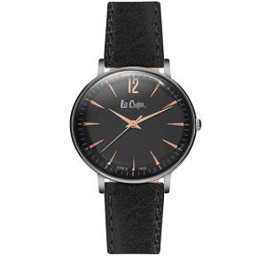 Lee Cooper Womens Analog Grey Case Black Leather Strap Black Dial, LC06378.361