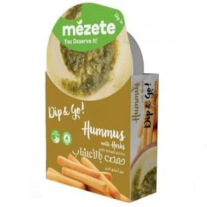 Mezete 12062 Hummus With Herbs With Bread Sticks (Snack Pack)