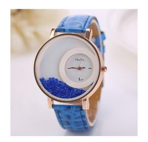 Generic Women Luxury Rhinestone Quicksand Leather Bracelet Casual Wristwatch-Blue