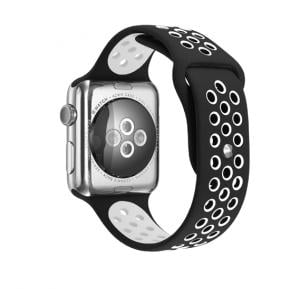 Silicone Strap Wristband For Nike Apple Watch 38MM Band - Black White