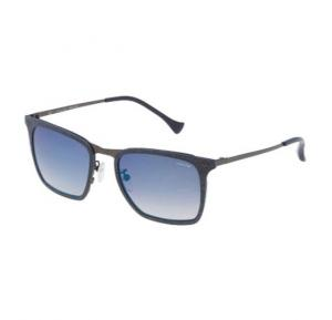 Police Wayfarer Blu Eff. Cloth Frame & Blue Gradient Mirrored Sunglasses For Men - SPL154N-AG2B