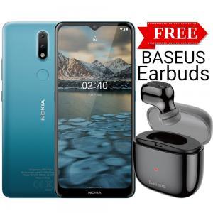 Nokia 2.4 Dual SIM, 2GB RAM 32GB Storage, 4G LTE, Blue With Baseus Single Earbuds Free