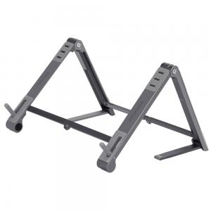 Promate Laptop Stand, Foldable Aluminum Multi-Angle Computer Desk Stand with Adjustable Height, Elevate Grey