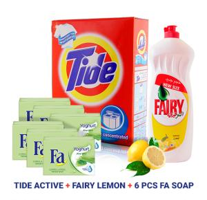 3 In 1 Bundle Offer Fairy Lemon Dishwashing Liquid 750ml + 6 Pieces Fa Soap Yoghurt Aloe Vera 175gm + Tide Active Auto Fabric Cleaning Powder 2.5kg