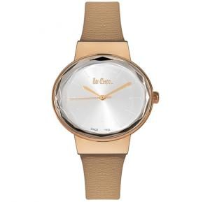 Lee Cooper Womens Analog Rose Gold Case Beige Leather Strap Silver Dial, LC06347.437