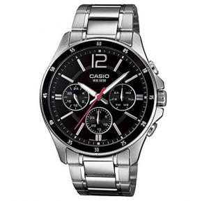 Casio Analog Watch For Men, Silver Stainless Steel Chronograph-MTP-1374D-1A