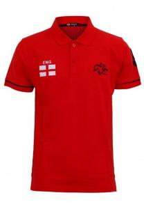 Braxton Embroidered England Flag Polo Red T-Shirt - EL1220 - M