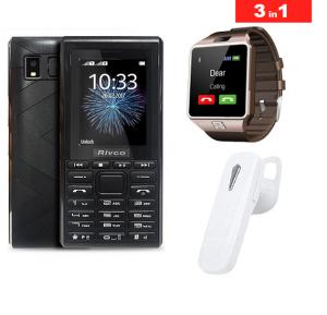 3 in 1 Bundle Offer, Rivco 2120 Dual Sim Mobile, DZ09 Bluetooth Smartwatch, Bluetooth Stereo Headset