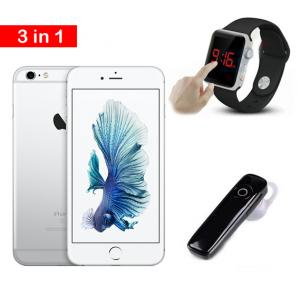 3 in 1 Offer Apple Iphone 6s Smartphone Silver With Smart Watch and Bluetooth earphone