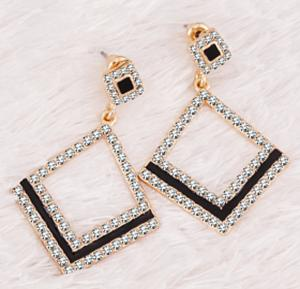 Victoria 18K Gold Plated Elegant Black Line Big Diamond Drop Shape Design Earrings With Cyrstal Stones, VKE118