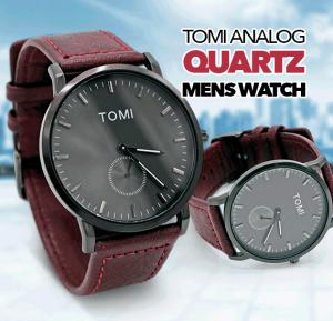 Tomi Analog Quartz Mens Watches TO73, Black Brown