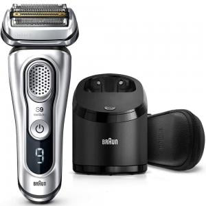 Braun Shaver 9390cc Wet And Dry With Leather Travel Case, Silver