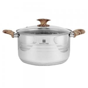 Royalford Stainless Steel Casserole with Glass Lid, Multi-Colour, 24 x 13.5 cm, RF8548
