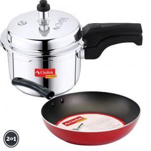 Cheftek 3 Ltr Stainless Pressure Cooker + Free 22cm Fry Pan