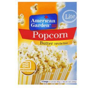 American Garden Microwave Popcorn Butter Fat Free 2.9oz X3`S