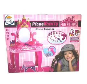 Piano Pretend Play Kids Vanity Table and Chair Beauty Play Set with 13 Piano Keys 661-36