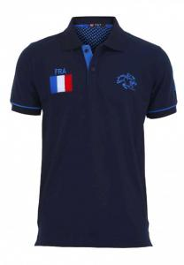 Braxton Embroidered France Flag Polo Blue T-Shirt - EL1223 - M