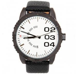 CURREN White Dial Leather Strap - M-8125