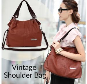 Vintage Shoulder Bag For Women - khaki