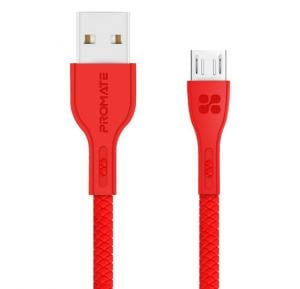 Promate Micro-USB Cable, High-Quality Anti-Break Micro USB to USB 2.0 Cable with 2A Fast Charging Syncing Cord and 1.2m Anti-Tangle Cable for Samsung, HTC, Motorola, Nokia, MP3 Player. PowerBeam-M Red