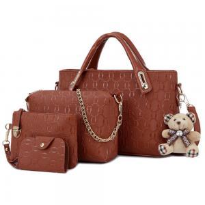 Womens 4 Pcs PU Leather Hand Bag Set Brown