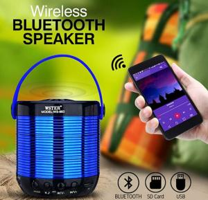 Wster Multi-Color Shining Portable Wireless Bluetotoh Speaker With Micro SD & USB Support - WS-883