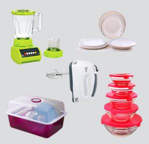 5 in 1 Bundle Offer! Plastic Dish Rack PEA-304 + Glass Bowl 5 Set GB-004 + Epsilon EN3646 12 Pieces Melamine Ware Dinner Set + Blender EA-811 + Egg Beater And Mixer BY-083