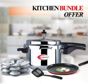 Kitchenmark Pressure Cooker Promo 5L + Dosa Tawa + Nyloon Turner + Idli Stand - K6048