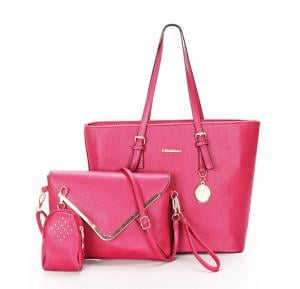 Simple Classic 3pcs Handbags- Pink
