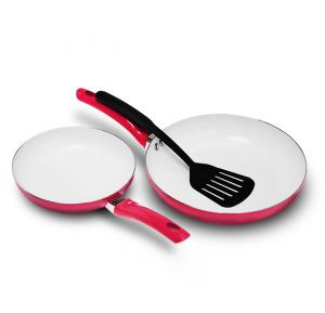 Royalford 2 Pcs Ceramic Coated Fry Pans With Nylon Turner - RF9317
