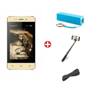 HTM M7 Mini Smartphone, 3G, 4 inch IPS LCD Display,256MB RAM, 2GB Storage, Dual Camera, Wifi and Get Powerbank + Selfie Stick + Grip Cover FREE(GOLD)