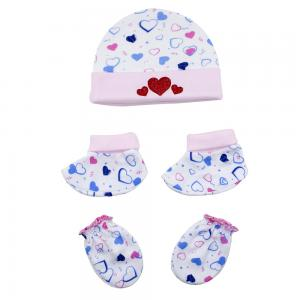 Night Angel Baby Benie Hat Mittens and Bootie Set for Girls BC-203-HEART-G