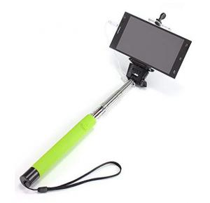 Cable Take Pole Selfie Stick Wired Monopod for Apple and Android Smartphone - GREEN