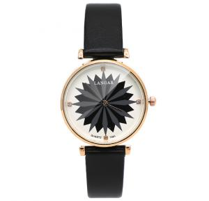 Langar Lotus Design Thin Leather Strap Leather Watch For Women - Black