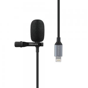 Promate Lavalier Microphone for iPhone, Professional Clip-on Lapel Mic with Lightning Connector, ClipMic-i