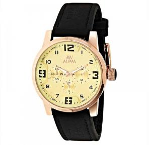 Mewa Mens Gold Dial Leather Band Watch 6038B16