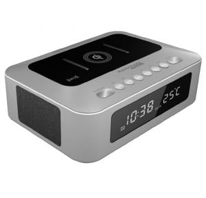 Promate Bluetooth Speaker, Multi-Function Qi Wireless Charger Bluetooth Speaker System with Built in Mic, 2 USB Ports, Aux In, NFC, FM Radio, Temperature/Time Display, Alarm Clock, TimeBase-1 Silver