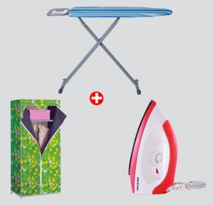 Combo Offer!Krypton Dry Iron KNDI6001+ In-House Folding Ironing Board 36x12 IB-1327-Blue+ In-House Folding Wardrobe WRD-2813 –Green