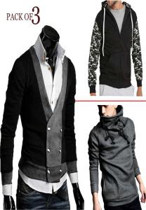 Mens Fashionable Turtle Hood+Mens Coat+Vneck RIB -L