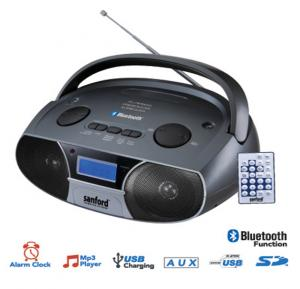 Sanford Fm Stereo Radio With Usb/Mp3 Player/Alarm Clock/Bluetooth/Sd/And Usb SF3304PR BS